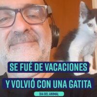 Se fué de vacaciones y volvió con una gatita. Homenaje #DiaDelAnimal