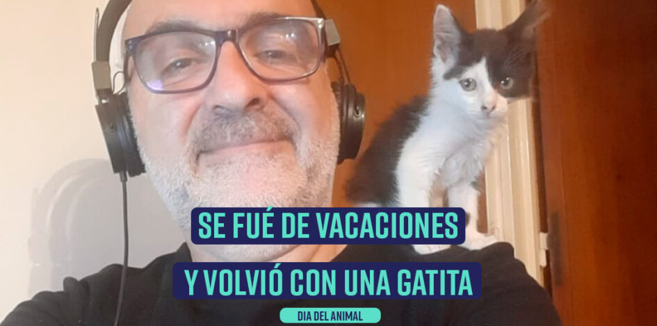 Lisandro y su gatita rescatada Catagata
